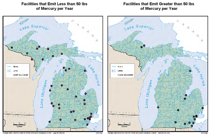 Figure 2. Geographic location of Michigan facilities releasing mercury into the environment based on 2002 emissions data (MDEQ 2008a). Map on left: Facilities releasing <50 pounds of mercury. Map on right: Facilities releasing >50 pounds of mercury.