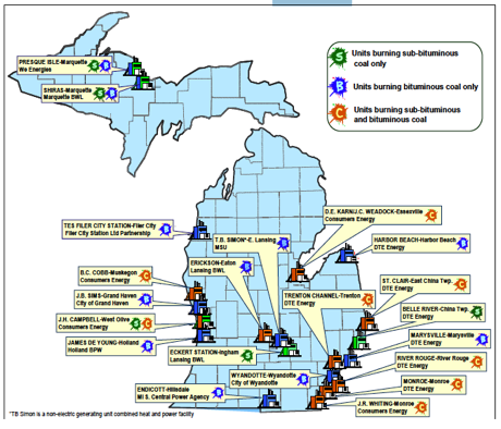 Figure 1: Michigan's Coal-Fired Energy Generating Units (EGU's)