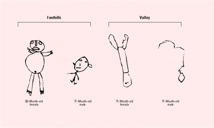 Figure 1. Drawings of a person by Mexican Yaqui children, age 5. Children in the valley were exposed to agricultural pesticides, while children in the foothills were not (Guillete et al. 1998).